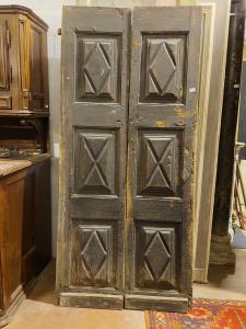 ptl555 - porta in pioppo, epoca '700, mis. cm l 96 x h 211