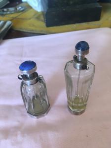 Coppia Portaprofumo in argento,cristallo e lapis