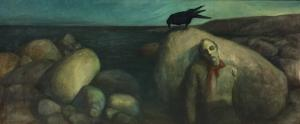 dipinto oilo su tela cm 88 x 204 tela datato 1901 Norvegia