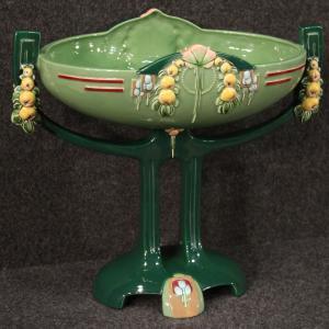 Tigela Art Nouveau em majólica esmaltada de Eichwald