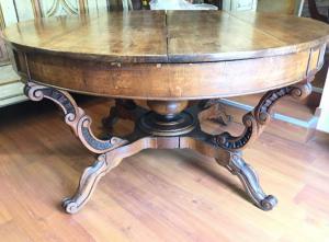 Antico tavolo a cestello genovese '800  noce grandi dimensioni 140 cm