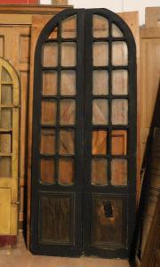 ptl513 - porta a vetri laccata a due ante, XIX secolo, cm l 99 x h 240