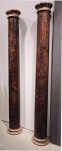 Coppia di colonne laccate, Lombardia, Sec. XVII