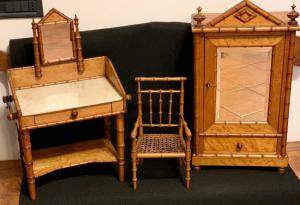 SET FORMED BY THREE MINIATURE FURNISHINGS FOR DOLLS - BEGIN '900