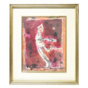 """Pintura à têmpera em pedreiro Franco Rognoni (1913-1999) """"Menestrello Rosso"""" PREÇO NEGOCIÁVEL"""