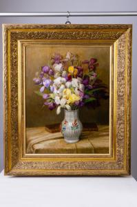 "Painting ""iris"" oil on canvas - O / 4898"