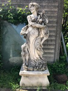 Stone statue 57x76x51h base, 80x40x170h