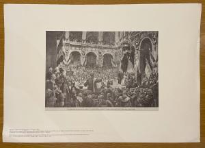 Reproduktion eines Drucks, der Giosue'Carducci zeigt, der das achthundertjährige Bestehen der Universität von Bologna mit einer Rede vor den Souveränen feiert. Von G.Amato aus dem Leben gezogen.