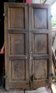 pte085 - porta com duas portas em nogueira, 140.50 xh 255 cm