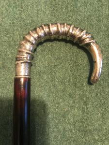 Stick with silver hook handle.
