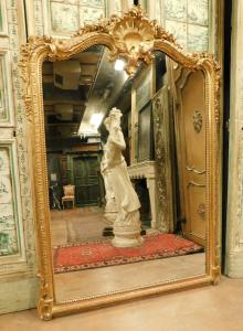 specc327 - golden mirror with shell from the 19th century, measuring cm l 140 xh 195
