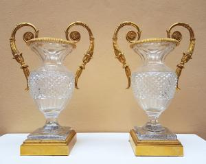 Pair of vases in crystal and gilded bronze
