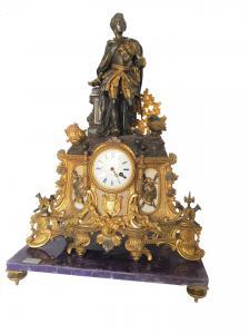 Orologio da tavolo in bronzo con base in ametista, Francia Napoleone III