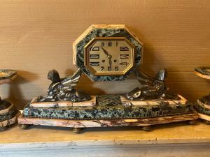 Trittico in marmo Decó orologio più 2 pendant intatto il tutto