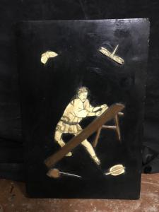 Eingelegtes Bild mit Elfenbein und Perlmutt