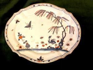 装饰有驼鸟的色彩强烈盘子,Felice Clerici制造,米兰。