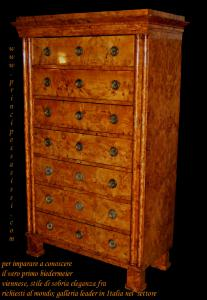 Vienna 1810-15 Important weekly of the Viennese empire / very first biedermeier, paved in the rare and precious essence of the bird's eye maple briar