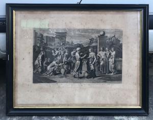 Impressão emoldurada que descreve um episódio bíblico. Roisselet 1677.