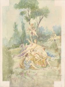 Aquarell mit Motiv aus dem 18. Jahrhundert, Aquarell mit Motiv aus dem 18. Jahrhundert
