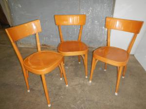 set of three beech chairs from the 1950s