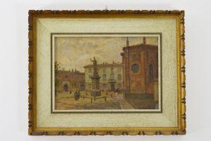 Pintura a óleo sobre papelão de Arturo Ferrari representando a Piazza Borromeno em Milão