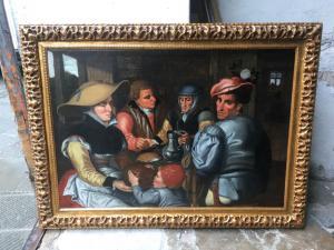 Splendido dipinto olio su tela raffigurante interno di taverna con personaggi attribuito a Pieter Aertesen XVI secolo