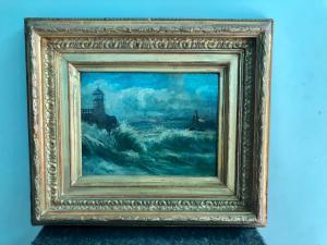 Pintura al óleo en faesite con escena marinara. Italia