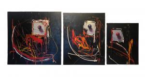 """ Lo Spaccone""-Marco Tamburro-丙烯酸三联画和画布上的拼贴"