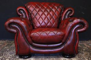 Poltrona originale inglese Chestefield bergere in pelle rosso bordeaux