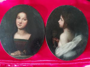 Coppia di ritratti ovali raffiguranti Artemisia e Maddalena, Firenze metà del XIX secolo