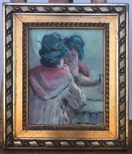 板上油画,标题:彩妆签名:比安奇1963年。