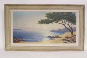 Pintura a óleo sobre tela, paisagem marinha, autor francês assinado Laplane