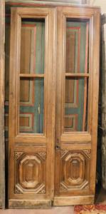 pti621 - porta de vidro de nogueira, cm l 100 xh 225