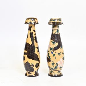 Paar Keramik-Dekovasen Dario Ravano, Paar Dario Ravano Deko-Keramikvasen
