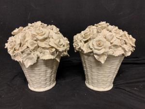 Ceramic baskets of roses