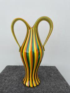 Vaso in vetro a fasce policrome verticali.Manifattura Salviati.Murano.