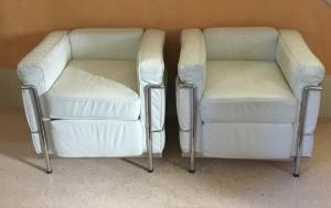 Pair of unsigned leather armchairs