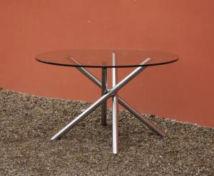 Modern antique round table with steel stem, glass top, 70s - 120 cm!