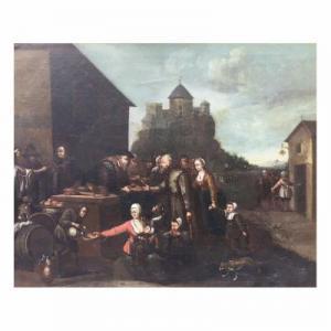 Dipinto olio su tela fiammingo secolo XIX