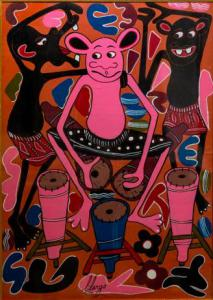 """""""Percusiones"""" - Pintura al óleo sobre lienzo de George Lilanga, Pintura al óleo sobre lienzo de George Lilanga"""