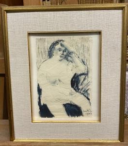 """Donna seduta"" disegno firmato Motti Giuseppe"