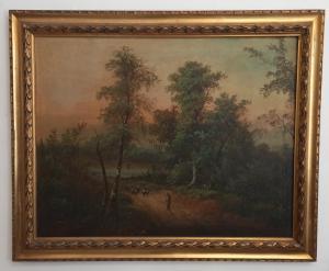Gran paisaje de campo - pintura al óleo sobre lienzo - finales del siglo XIX / principios del XX - muy hermoso