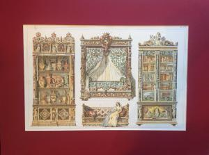 Ornaments for theatrical scenographies with passepartout - 20th century print from engraving D. Count of the 19th century