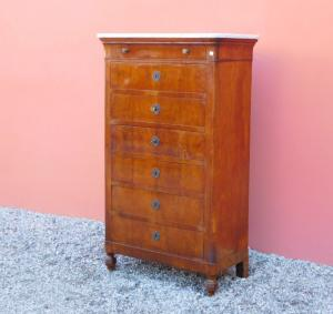 Weekly secretaire Carlo X chest of drawers with desk drawer, walnut, '800!
