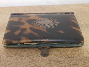 Porta agenda in tartaruga e lapis antica