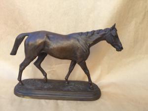 """Escultura de animal de bronce """"Caballo de pura sangre inglés"""" según Isidoro Jules Bonheur (1827-1901)"""