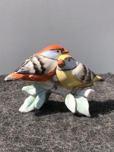 Paar Porzellan Vögel, Manifattura Cacciapuoti, Mailand