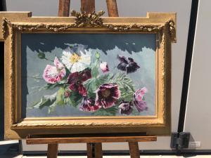 Dipinto olio su tela raffigurante dei fiori.Francia.