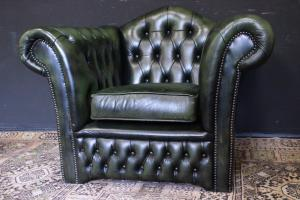 English Chesterfield armchair in cinnabar green leather