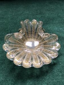 Cenicero de vidrio soplado y polilobulado de la serie 'zebra'. Barovier